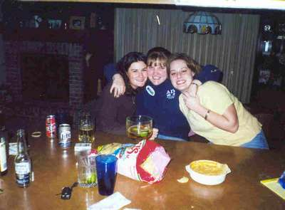 Melissa, Alyson and Lisa celebrating my acceptance to graduate school. (March 2000).