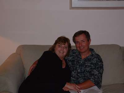 Mother and father of the bride relaxing at the condo in CA.