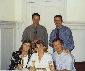 The Gantar family celebrating Alyson's graduation from graduate school in May 2002