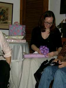 Me tearing through the well wrapped gifts!