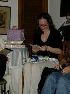 Me reading one of the many sweet cards!