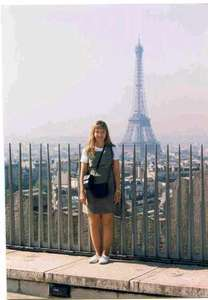 Niki posing in France after a long trip over from England.